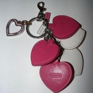 COACH Multi Hearts Charm Keychain Keyring Key Fob